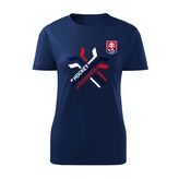 Women's T-shirt crossed sticks - navy